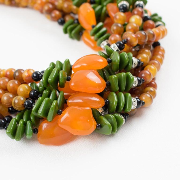 Angela Caputi Italy Multi-strand Necklace Saffron Green Orange Resin Beads For Sale 5