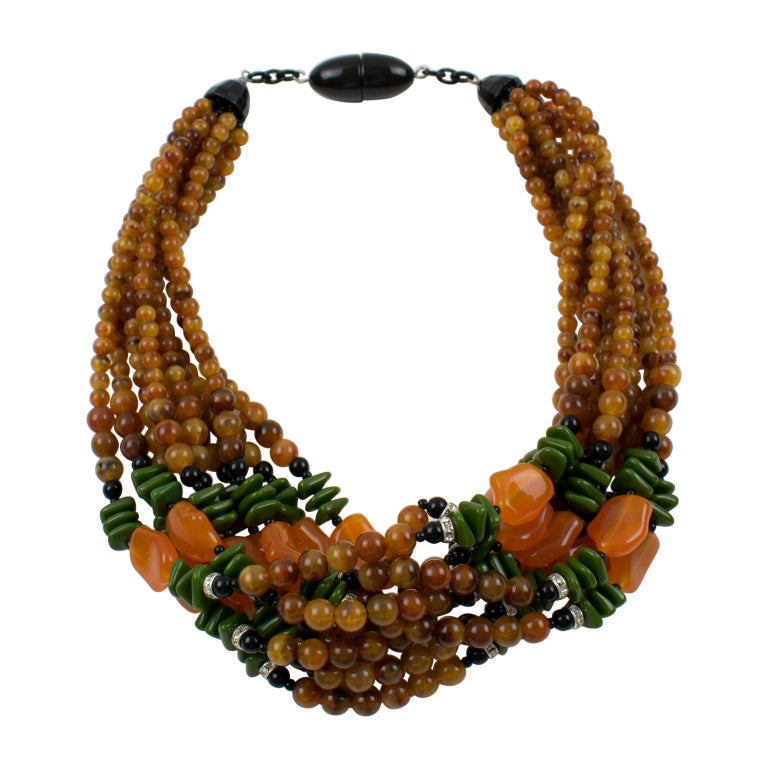Angela Caputi Italy Multi-strand Necklace Saffron Green Orange Resin Beads For Sale