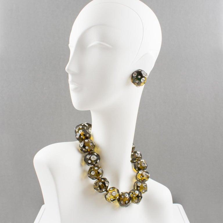 Angela Caputi Jeweled Olive Green Clip Earrings For Sale 2