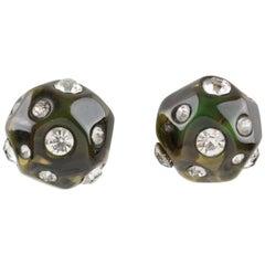 Angela Caputi Jeweled Olive Green Clip Earrings
