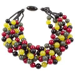 Angela Caputi Multi-Strand Choker Necklace Resin Seed Bead