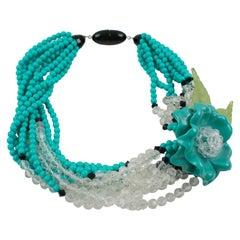 Angela Caputi Multi-Strand Resin Necklace Turquoise Flower