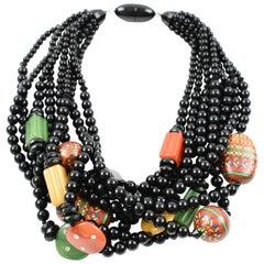 Angela Caputi Multicolor Resin Multi-Strand Choker Necklace