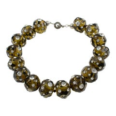 Angela Caputi Olive Green Resin Choker Necklace