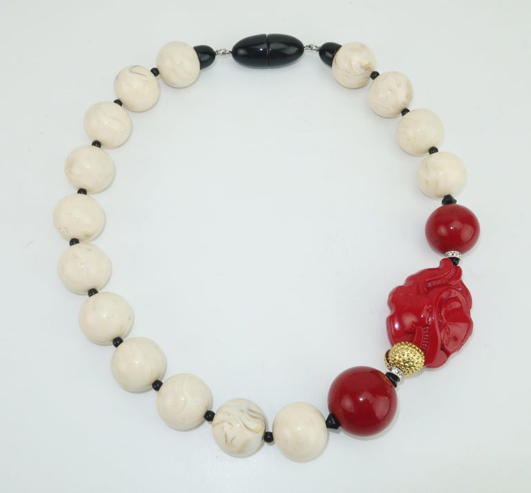 Angela Caputi Resin Bead Asian Inspired Necklace For Sale 2