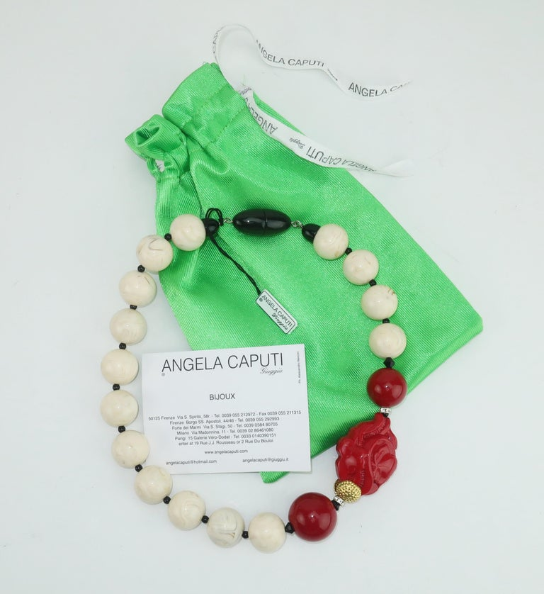 Angela Caputi Resin Bead Asian Inspired Necklace For Sale 3