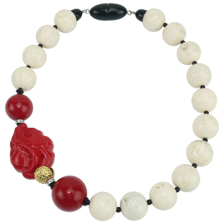 Angela Caputi Resin Bead Asian Inspired Necklace For Sale