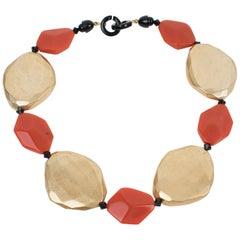 Angela Caputi Resin Choker Necklace Gold and Orange Pebbles