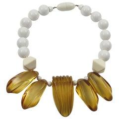 Angela Caputi Resin Choker Necklace White and Applejuice