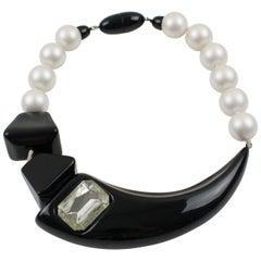Angela Caputi Asymmetric Choker Necklace Black and Pearly Resin