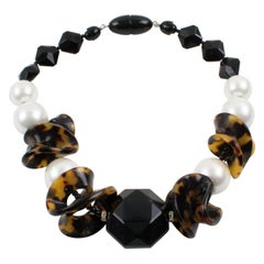Angela Caputi Tortoise Pearly and Black Lucite Choker Necklace