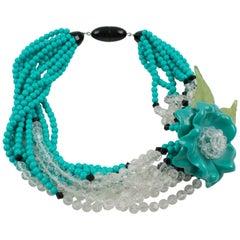 Angela Caputi Turquoise and Black Resin Necklace with Oversized Flower