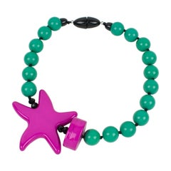 Angela Caputi Turquoise and Hot Pink Resin Choker Necklace
