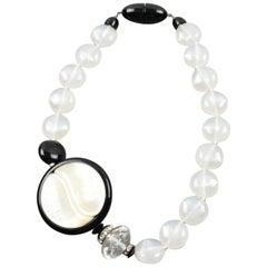 Angela Caputi Yin-Yang Black and White Resin Choker Necklace