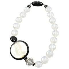 Angela Caputi Yin-Yang B&W Resin Choker Necklace