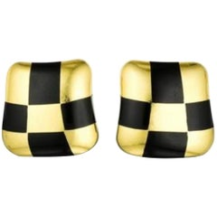 Angela Cumming Black and Gold Checkboard Earrings with Jade, in 18KT Gold