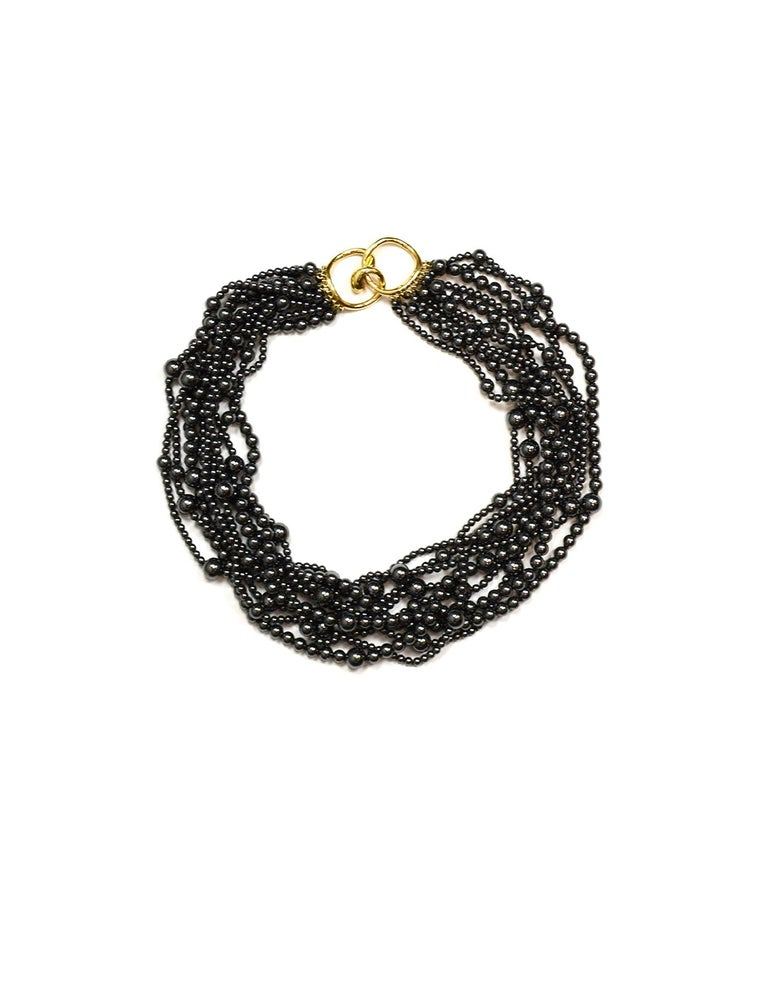 Angela Cummings 10 Strand Hematite Bead Choker Necklace w/ 18k Gold Clasp  In Excellent Condition For Sale In New York, NY