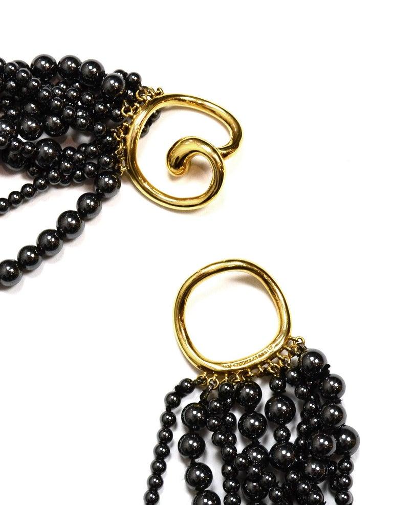 Women's Angela Cummings 10 Strand Hematite Bead Choker Necklace w/ 18k Gold Clasp  For Sale