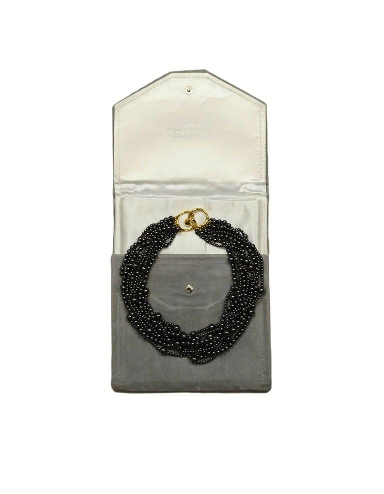 Angela Cummings 10 Strand Hematite Bead Choker Necklace w/ 18k Gold Clasp  For Sale 2