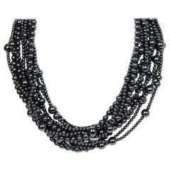 Angela Cummings 10 Strand Hematite Bead Choker Necklace w/ 18k Gold Clasp