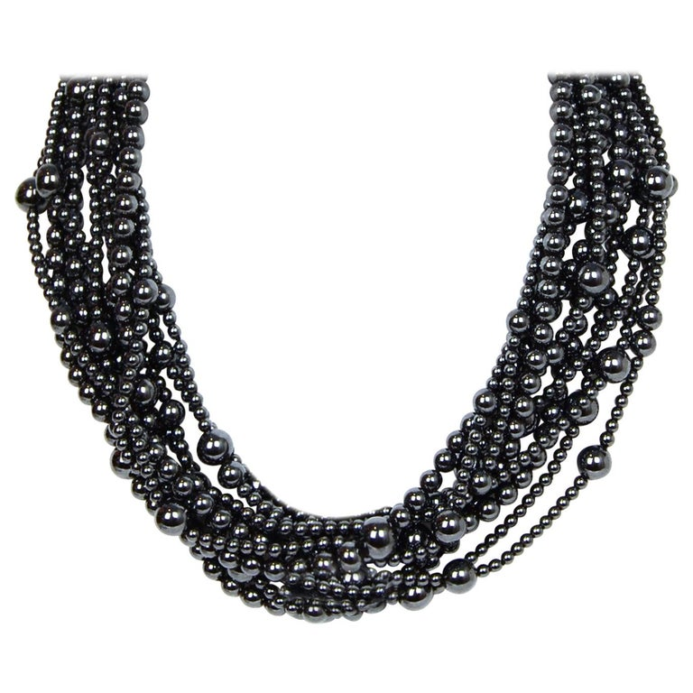 Angela Cummings 10 Strand Hematite Bead Choker Necklace w/ 18k Gold Clasp  For Sale