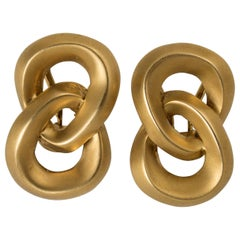 Angela Cummings 18 Karat Brushed Gold Interlocking Figure 8 Earrings