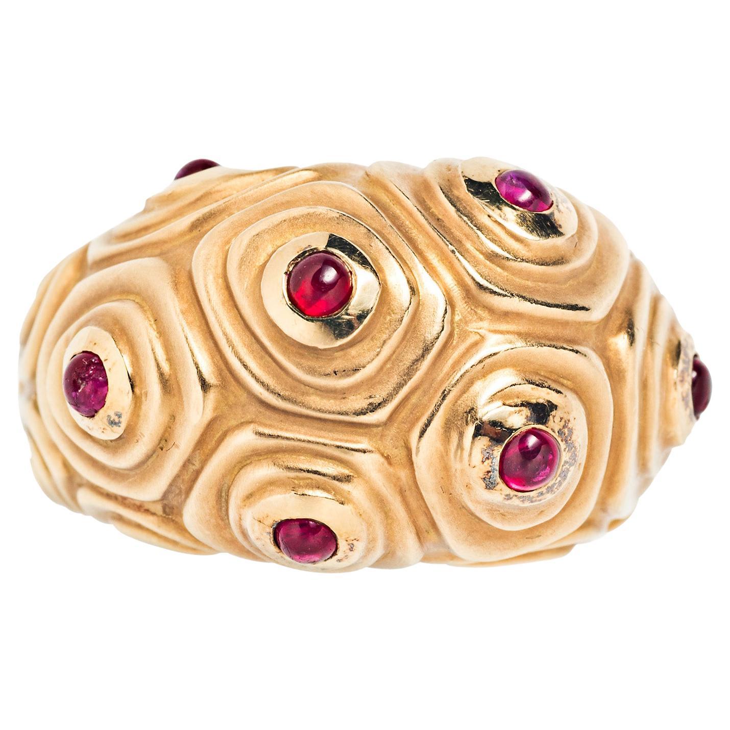 Angela Cummings 18 Karat Gold and Ruby Ring