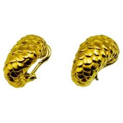 Angela Cummings 18 Karat Gold Snake Motif Hoop Earrings, 1986