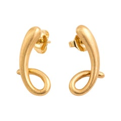 Angela Cummings 18 Karat Yellow Gold Squiggle Earrings, circa 2002