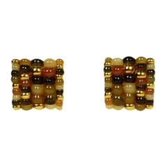 Angela Cummings 18k Clip On Square Earrings w/ Gold & Stone Beads