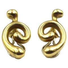 Angela Cummings 18 Karat Yellow Gold Earrings Swirling Design