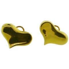 Angela Cummings 18 Karat Yellow Gold Heart Earrings, circa 1983