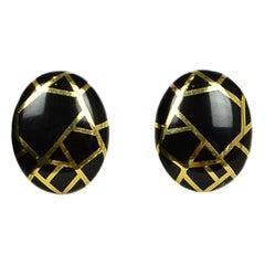 Angela Cummings 1986 18K & Onyx Inlay Clip-on Earrings