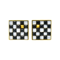 Angela Cummings 1986 Onyx Mother of Pearl 18 Karat Gold Checkerboard Earrings