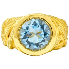 Angela Cummings 3.09 Carat Aquamarine 18 Karat Gold Woven Foliate Ring