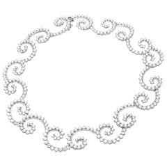 Angela Cummings 34 Carat Diamond Swirl Platinum Necklace, circa 1995
