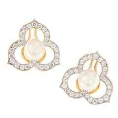 Angela Cummings Akoya Pearl Diamond Earrings