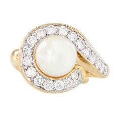 Angela Cummings Akoya Pearl Diamond Yellow Gold Ring
