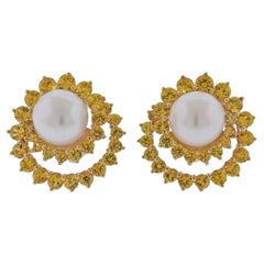 Angela Cummings Assael Gold South Sea Pearl Yellow Sapphire Earrings