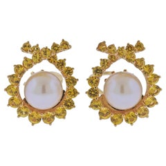 Angela Cummings Assael Gold Yellow Sapphire South Sea Pearl Earrings