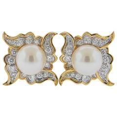Angela Cummings Assael South Sea Pearl Diamond Platinum Gold Earrings