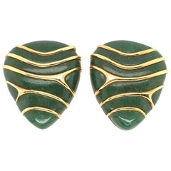 Angela Cummings Aventurine and Gold Earrings