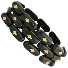Angela Cummings Black Jade and Gold Bracelet and Earrings