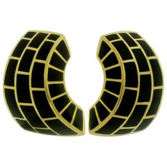Angela Cummings Black Onyx Yellow Gold Earrings