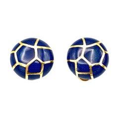 Angela Cummings Blue Enamel Yellow Gold Clip-On Earrings
