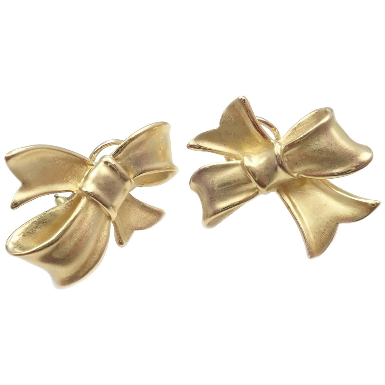 Angela Cummings Bow Yellow Gold Earrings, 1984