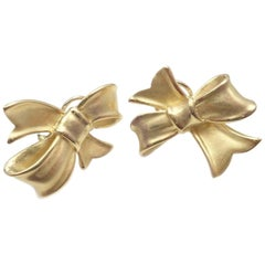Angela Cummings Bow Yellow Gold Earrings, 1984