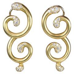 Angela Cummings Curvy Gold and Diamond Earrings