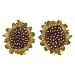 Angela Cummings Enamel Gold Sunflower Large Earrings