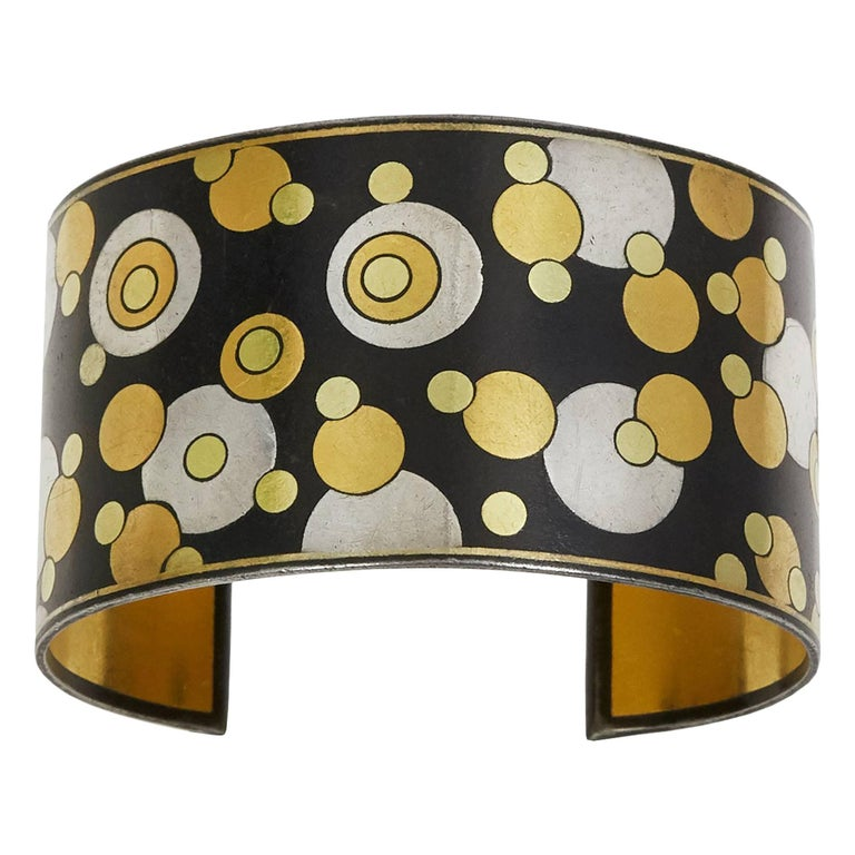 Angela Cummings for Tiffany & Co. Black Iron Lacquer, Gold, Sterling Bubble Cuff For Sale